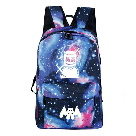 MUAI Backpack for School, Marshmallow DJ 3D Printed Night Light Backpack Lightweight Laptop Backpack Travel Bag Students School Bags College Backpack for Boy and