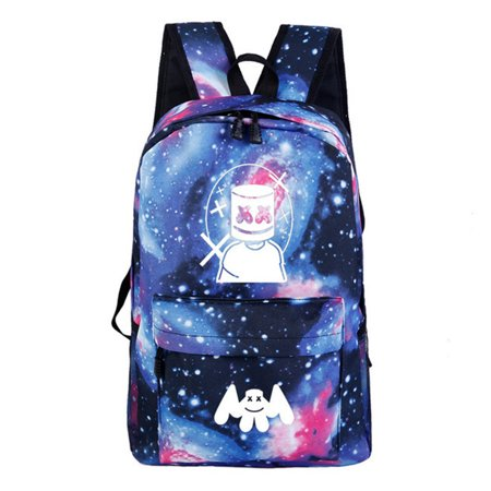 Mukola Backpack for School, DJ Marshmallow 3D Printed Night Light Backpack Lightweight Laptop Backpack Travel Bag Back to School  Backpack for Boy and Girls ()