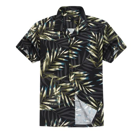 Men's Hawaiian Shirt Aloha Shirt 3XL Pastel Leaves in -