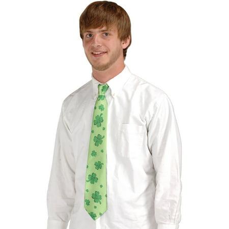 Irish Saint Patricks Day Green Shamrocks Tie Costume Accessory