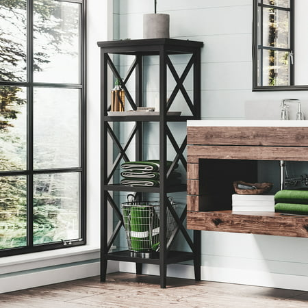 RiverRidge X- Frame Bath Collection - 4-Shelf Storage Tower - Espresso