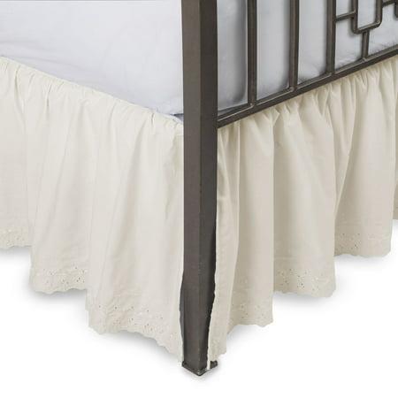 Beading Skirt - Eyelet Ruffled Bed Skirt With Split Corners