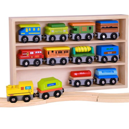 Pidoko Kids Wooden Train Set - 12 Pcs Engines Cars - Compatible with Thomas Train Set Tracks and Major Brands - Perfect Toy for Boys and -