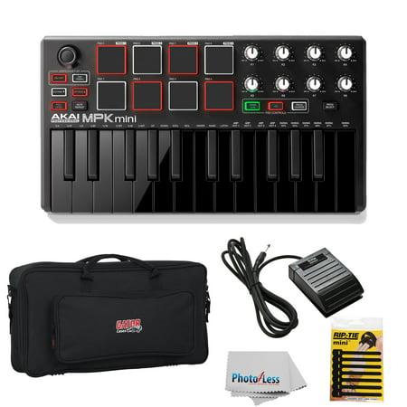 Akai Professional MPK Mini 2 Black 25-Key Ultra-Portable USB MIDI Drum Pad & Keyboard Controller with Joystick, VIP Software Download Included - Limited