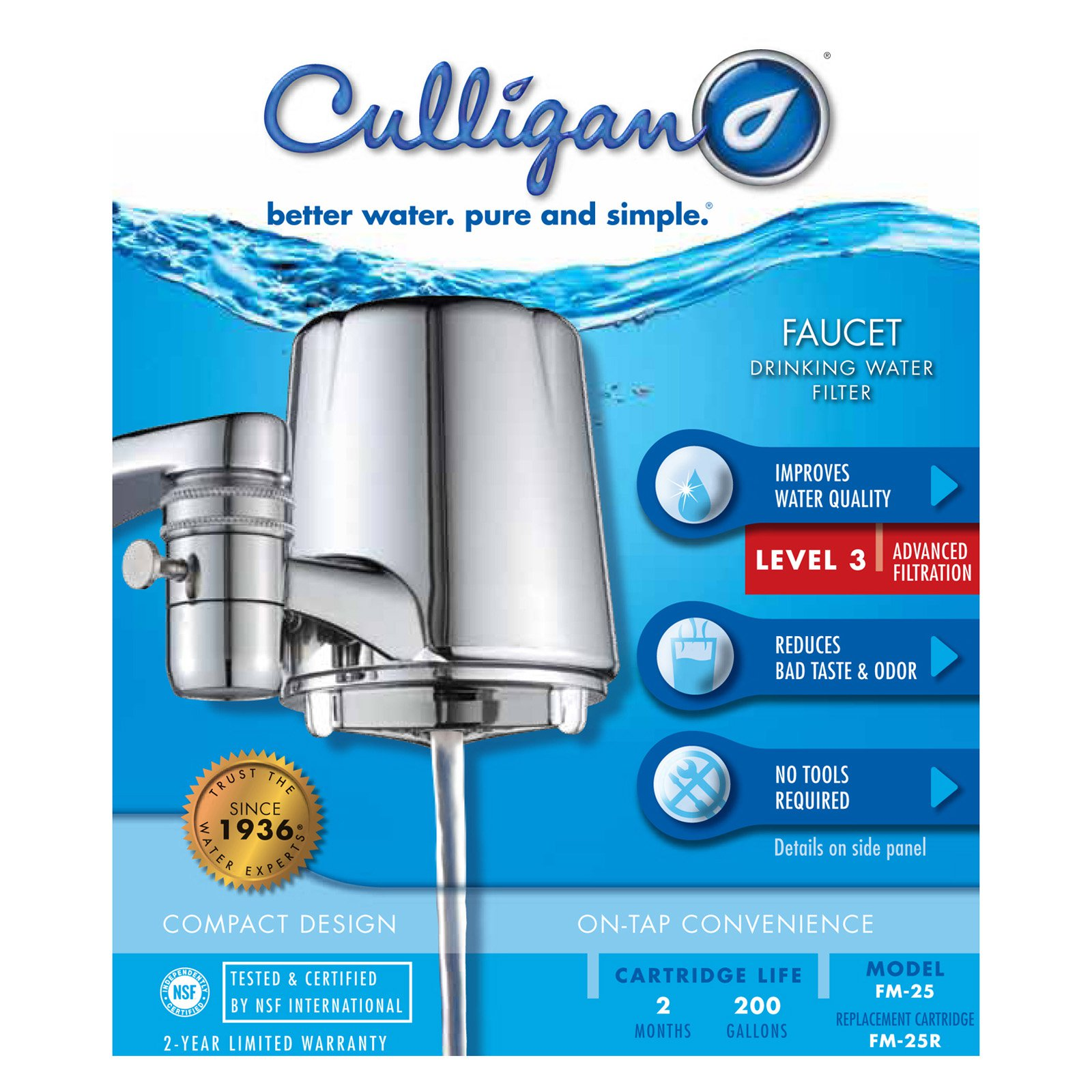 Culligan FM-25 Faucet Mount Drinking Water Filter, Chrome