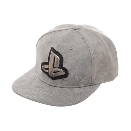 Bioworld Licensed Sony Playstation Distressed PU Leather with Metal Logo Grey Snapback Hat - image 2 of 5