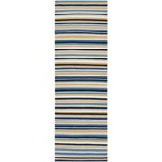 2.5' x 8' Rainbow Stripes Blonde and Steel Blue Wool Area Throw Rug