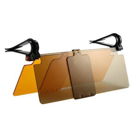 Car Sun Visor Day and Night Anti-Glare Dual Visor Goggles Universal Tinted Windshield Extender Driving (Night Saver Tint)