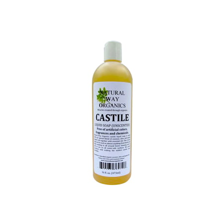 Natural Way Organics Ultra Mild Unscented Castile Soap, 16oz - Perfect for Natural Skin Care and Hair Care - Make Your Own DIY Green Cleaning Products