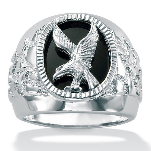 Palm Beach Jewelry Sterling Silver Men's Onyx Eagle Ring