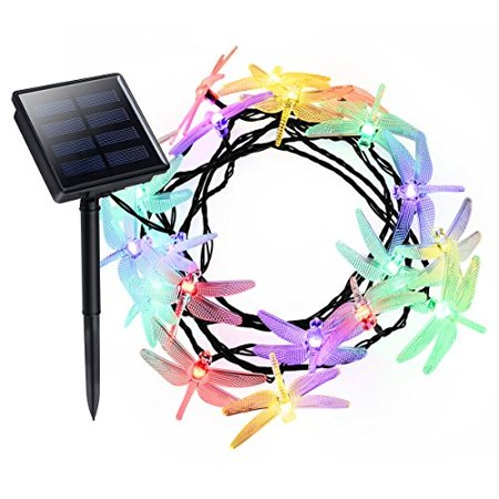 Solar String Lights Litom 20 Led Dragonfly Shape With 8 Working Modes Multi