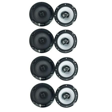 Kenwood 300 Watt 6.5-Inch Coaxial 2 Way Car Audio Speaker (1 Pair) (4 Pack) ()