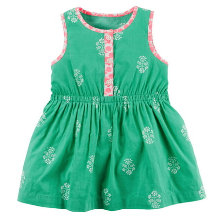Carters Baby Girls Printed Dress with Pink Trim Turquoise