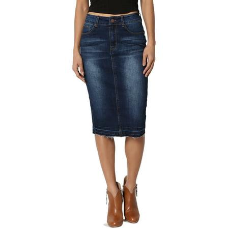 TheMogan Women's Butt Lift Washed Blue Jean Pencil Midi Soft Denim Skirt