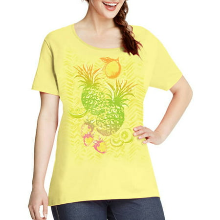 04a18c8fbc9 Just My Size - by Hanes Women s Plus-Size Watercolor Graphic Scoopneck Tee  - Walmart.com