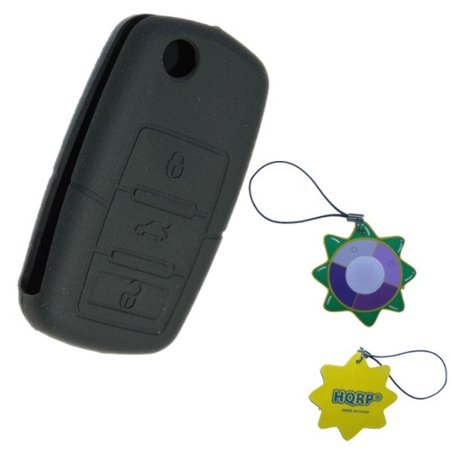 HQRP Key Fob for Volkswagen VW Beetle 2005 2006 2007 05 06 07 Black Folding Flip Case Shell Remote Protective Cover + HQRP UV Meter