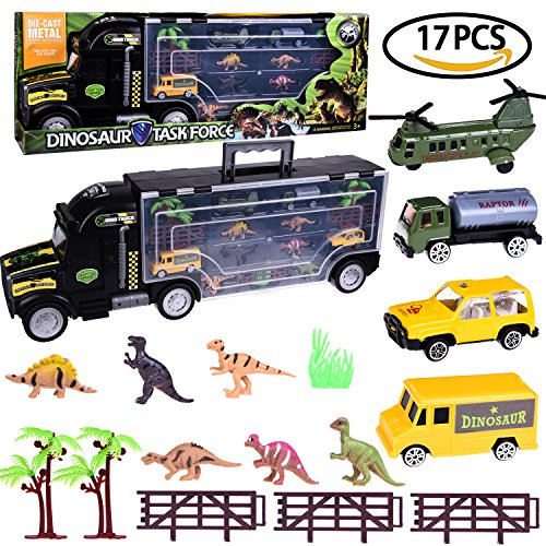 Dinosaur Car Truck Racer Vehicle Trailer Toys Set for Boys Jurassic Toy Educational, Science Project, Kids Birthday Parties, Party Favors with a Car Shape Container 17 PCs F-55