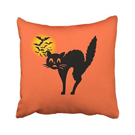 WinHome Cute Happy Halloween Cool Cat Personalized Bat In Moon Polyester 18 x 18 Inch Square Throw Pillow Covers With Hidden Zipper Home Sofa Cushion Decorative Pillowcases - Cool Halloween Cover Photos