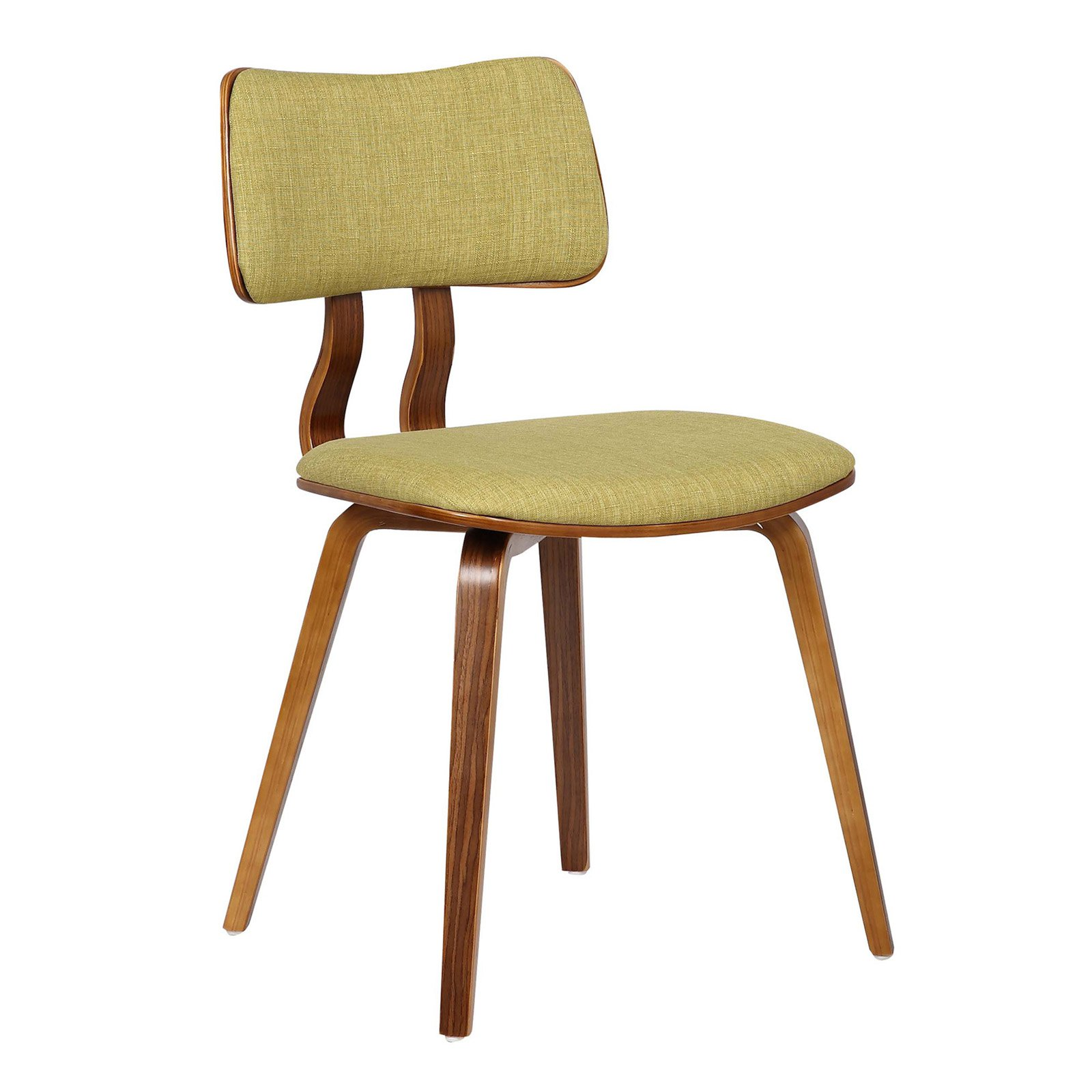 Armen Living Jaguar Mid-Century Dining Chair in Walnut Wood and Fabric by Armen Living