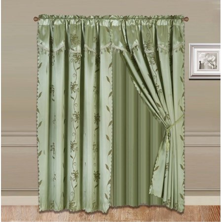 8-Piece SAGE GREEN Nada Luxury Faux Jacquard Floral Design Panel, Rod Pocket Window Curtain Set Attached Valance, Panel, And Sheer- Includes 2 Tie Backs