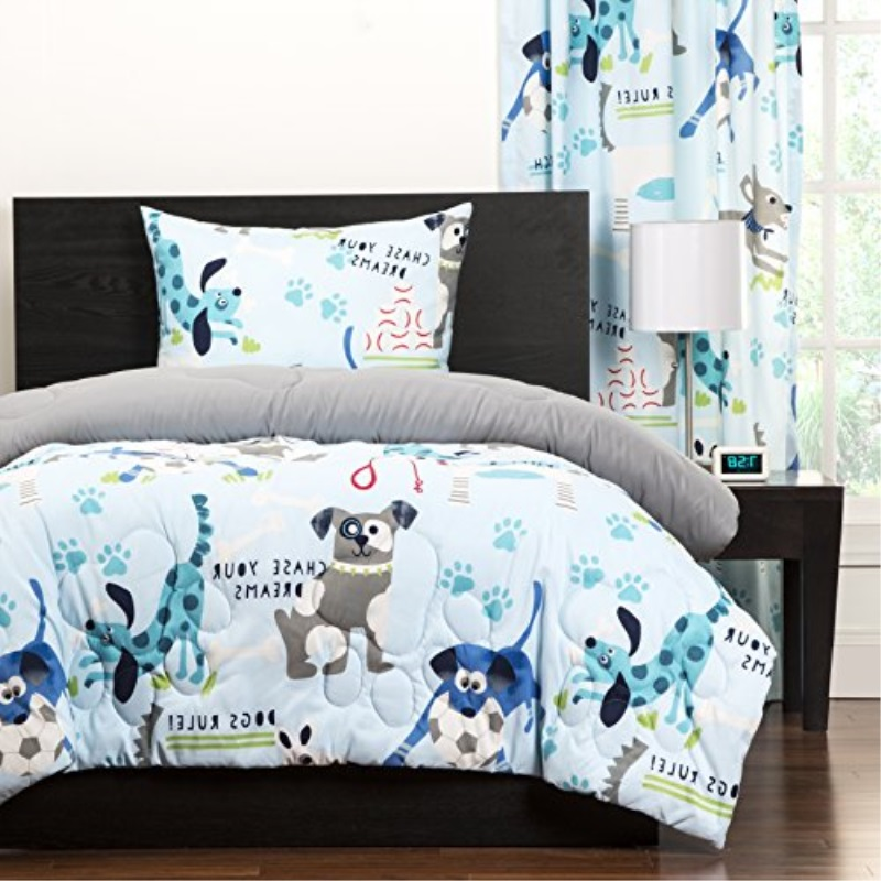 2 Piece Kids Puppies Dogs Comforter Twin, Cute Adorable Childrens Playful Bedding , Puppy Love Little Doggies Blue Teal White