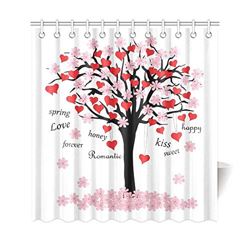 GCKG Spring Tree Of Love Shower Curtain Pink Red Valentines Day