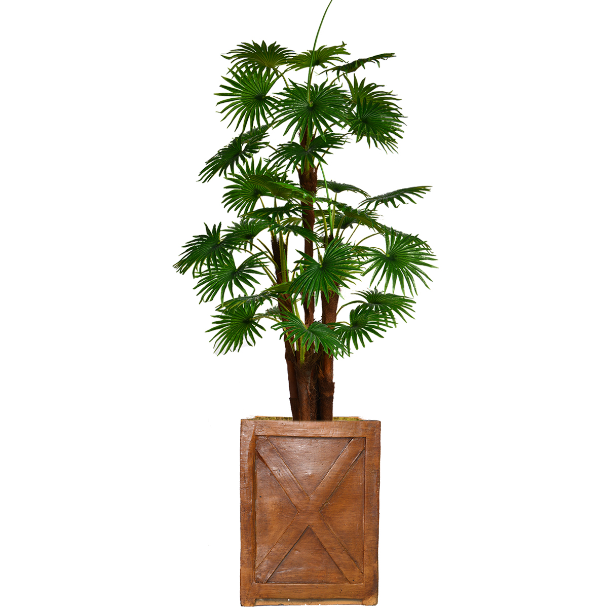 """75"""" Tall Fan Palm Tree Artificial Indoor/ Outdoor Décor Faux Burlap Kit and Fiberstone Planter By Minx NY"""