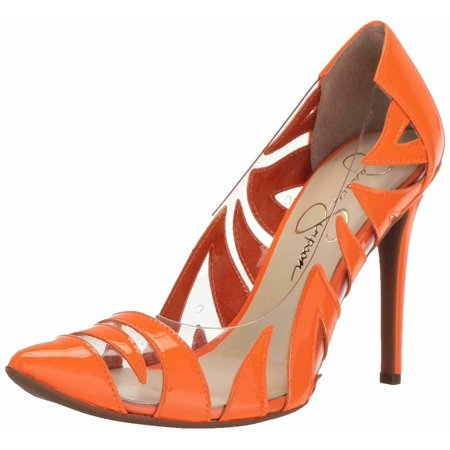 Jessica Simpson PALMRA Pump Neon Orange Clear Pointed Toe Stiletto Pumps
