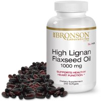 Bronson High Lignan Flaxseed Oil Softgels, 1000 Mg, 250 Ct