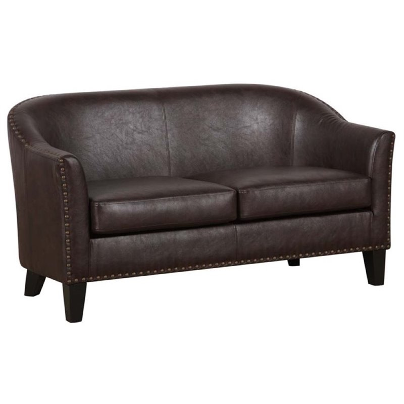 Pemberly Row Faux Leather Loveseat in Chocolate Brown