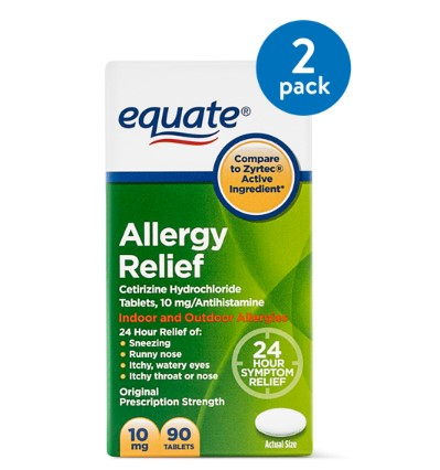 (2 Pack) Equate Allergy Relief Cetirizine Antihistamine Tablets, 10 mg, 90 Ct
