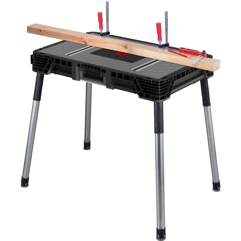Husky Portable Jobsite Workbench Storage Garage Table Ste...