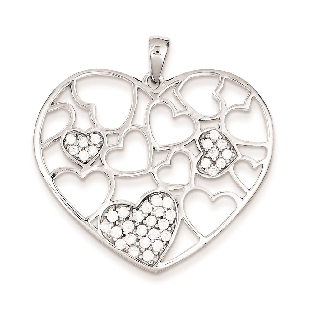 925 Sterling Silver Polished & CZ Heart Charm Pendant 35mmx35mm
