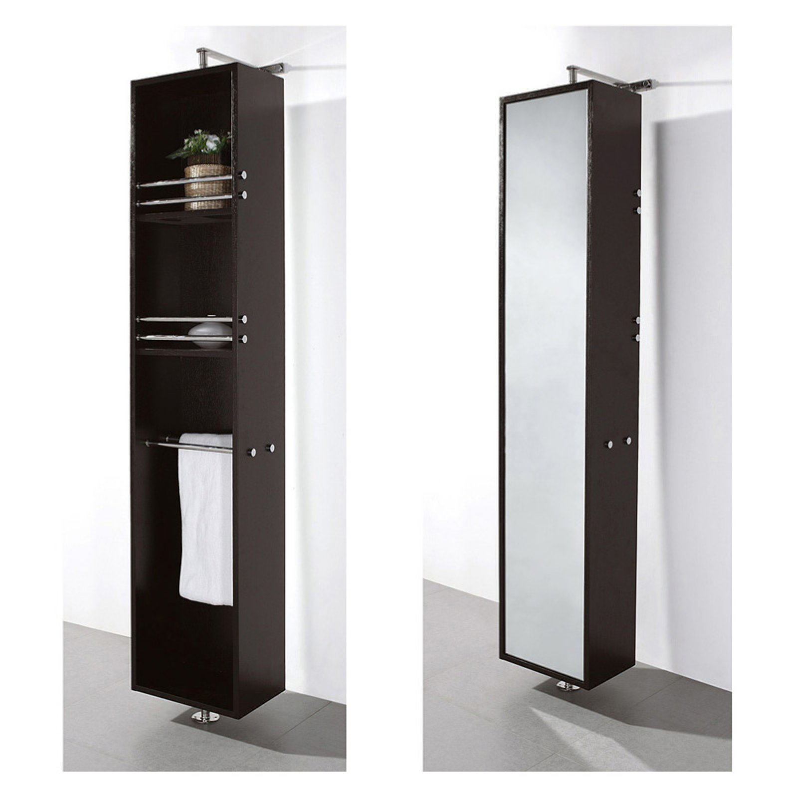 Wyndham Collection April Linen Tower & 360 Degree Rotating Floor Cabinet with Full-Length Mirror in Espresso