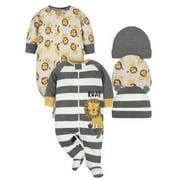Gerber Baby Boy Sleep 'n Play Pajamas & Hat Set, 5-Piece (NB-3/6M)