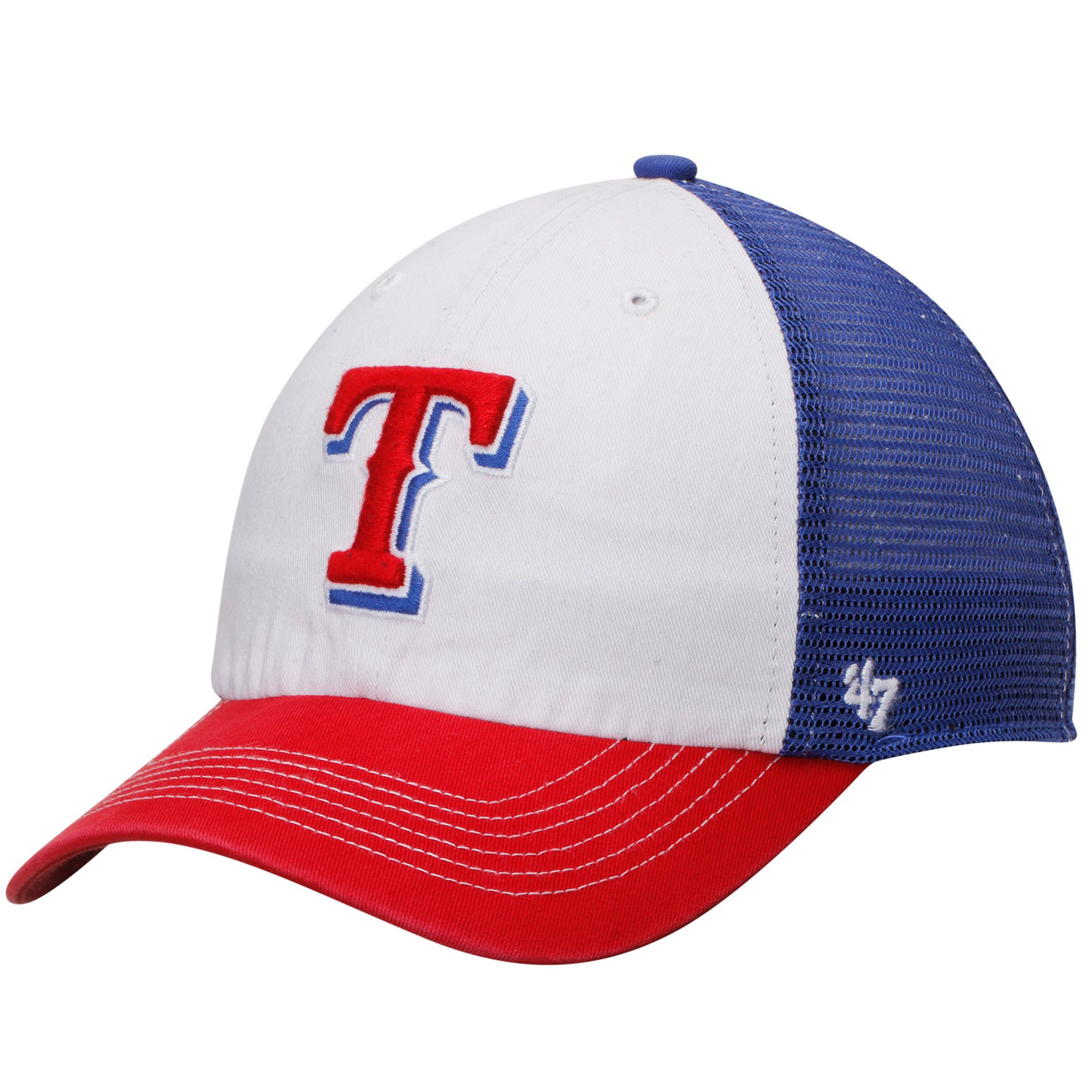 Texas Rangers '47 McKinley Closer Flex Hat - White/Red - OSFA