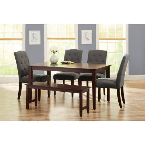 Better Homes and Gardens 6-Piece Dining Set with Upholstered Chairs & Bench, Gray