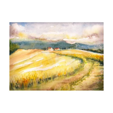 Country Landscape with Typical Tuscan Hills in Italy. Watercolors Painting. Print Wall Art By DeepGreen