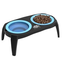 Elevated Pet Bowls with Non Slip Stand for Dogs and Cats-Removeable and Collapsible Silicone Feeder for Food and Water- 16 Oz Each By PETMAKER (Blue)