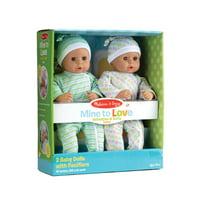 Melissa & Doug Mine to Love Twins Sebastian & Sofia 15 Medium Skin-Tone Boy and Girl Baby Dolls