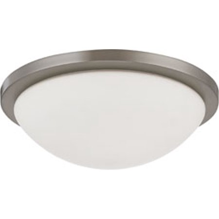 Replacement for 60/2944 BUTTON ES 2 LIGHT 13 INCH 13W GU24 INCLUDED FLUSH DOME WITH WHITE GLASS BRUSHED NICKEL CONTEMPORARY (13 Flush Dome)