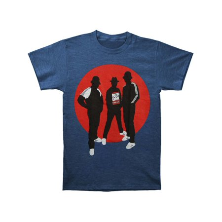 Run DMC Men's  Silhouette Circle Vintage T-shirt Heather Navy (Run Dmc Outfit)