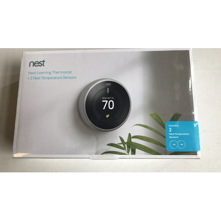 Nest Smart Learning Wi-Fi Programmable Thermostat, 3rd Gen, Stainless Steel w/ Temperature Sensor