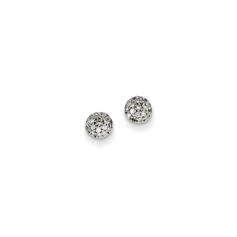14k White Gold H-I SI2 Quality Diamond Button Earrings. Carat Wt- 0.2ct (5MM)