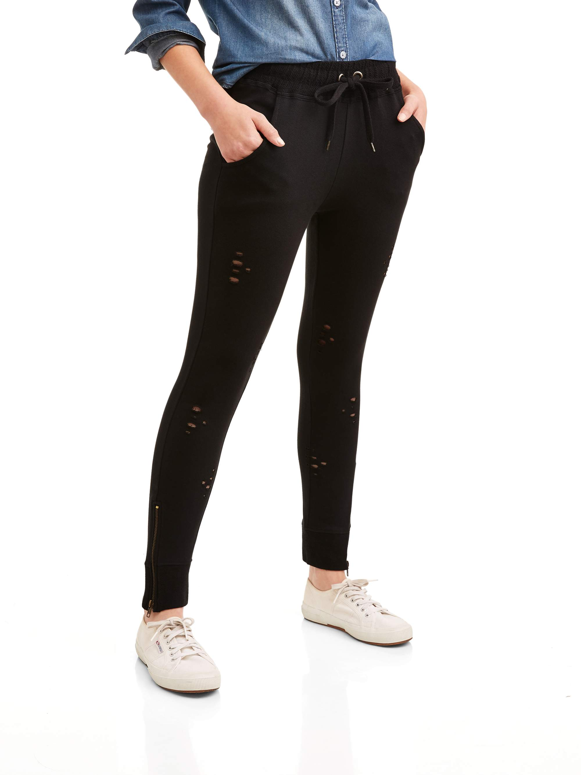 New York Laundry Athleisure Women's Distressed Jogger Pant With Zipper