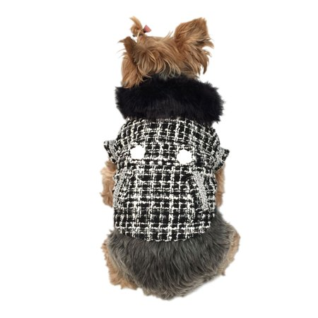 Medium Dog Coat - Black/White Faux Fur Collared Fashion Trench Coat Warm Winter Apparel for Puppy Dog Clothing Clothes - Medium (Gift for Pet)
