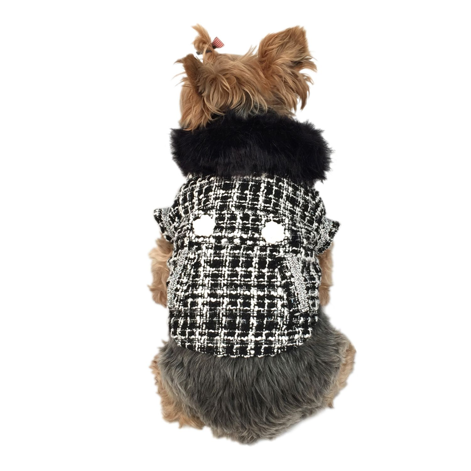Black/White Faux Fur Collared Fashion Trench Coat Warm Winter Apparel for Puppy Dog Clothing Clothes - Medium (Gift for Pet)