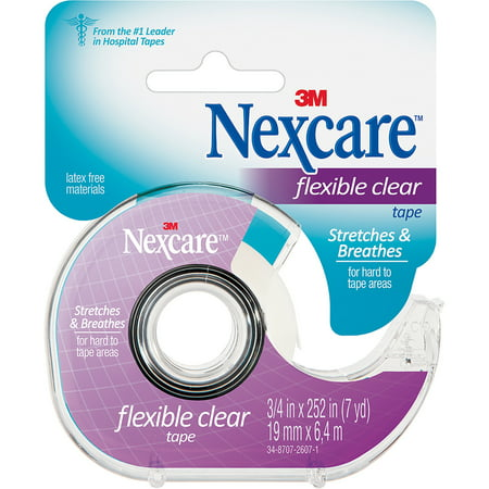 Clear Ear Drying Aid (Nexcare Flexible Clear First Aid Tape, Dispenser, 3/4 in x 7)
