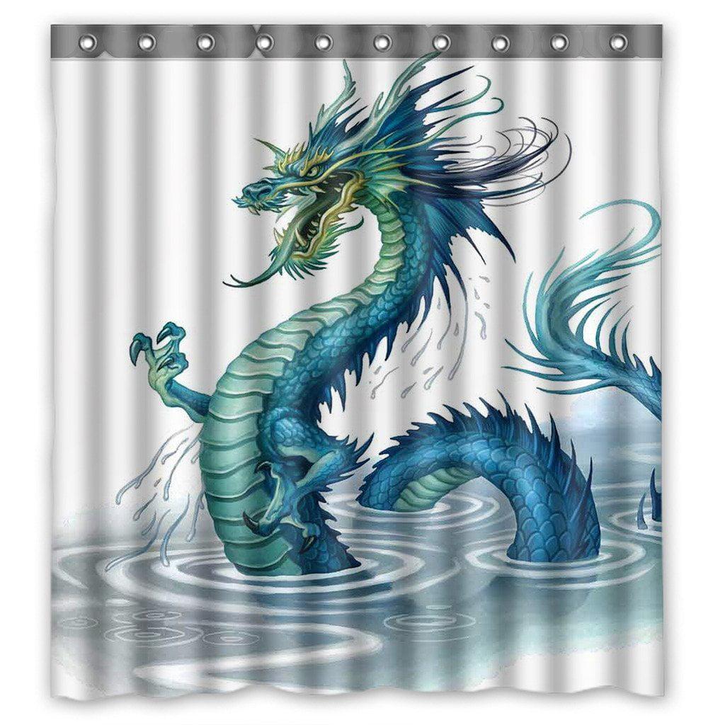 GCKG Art Dragon Bathroom Shower Curtain Shower Rings Included