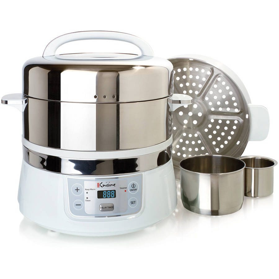 Stainless Steel Electric Vegetable Steamer ~ Euro cuisine stainless steel electric food steamer
